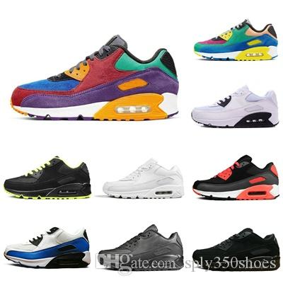 Nike air max 90 Meilleure Qualité Rainbow Desert Rose Sport nike air Chaussures De Luxe Designer Hommes Femmes Baskets Baskets Chaussures Size36-45