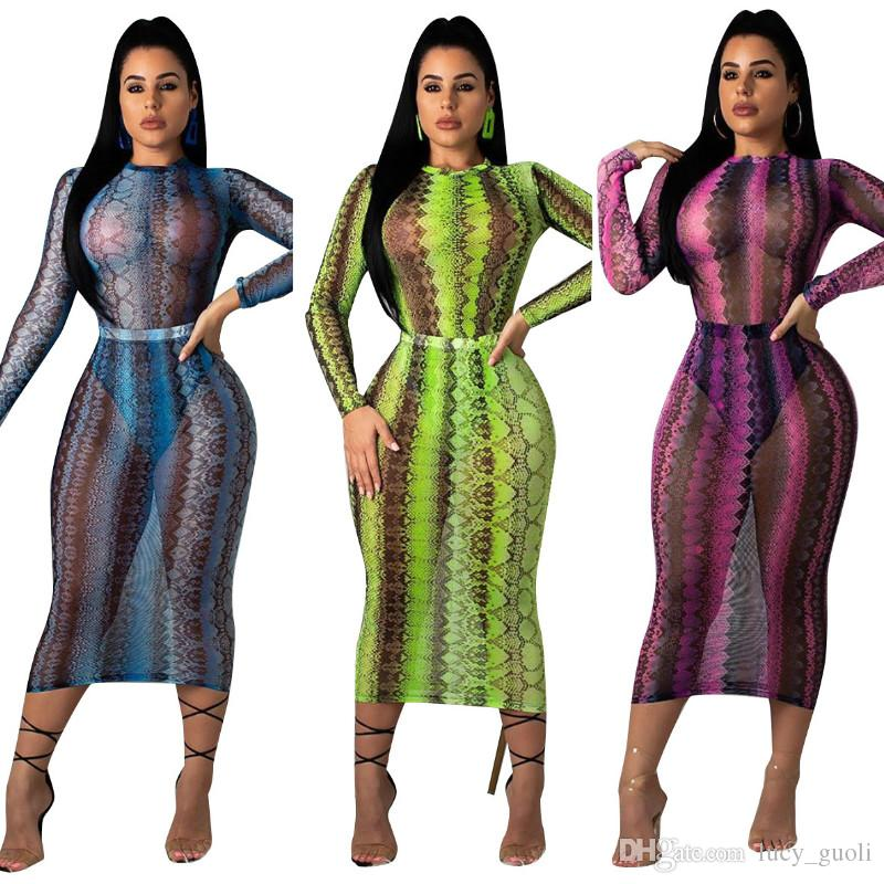 2019 Women Party Club Dress Summer Sexy Sheer Bandage Bodycon Dress Long Sleeve Neon Green Snake Print Transparent Mesh Dress Summer Wear