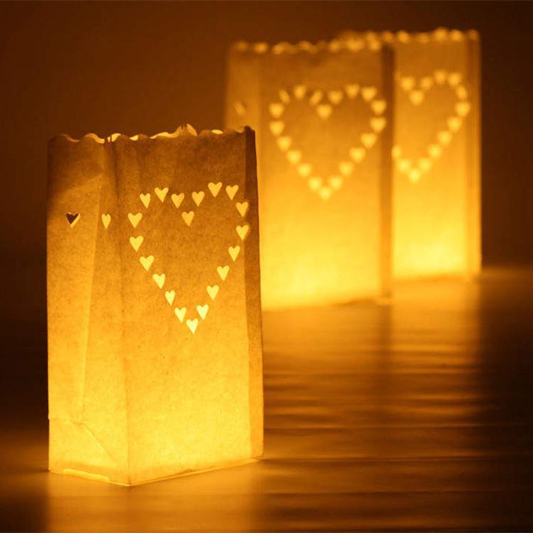 Lanternes 20 pcs / lot en forme de coeur Lumignon Porte Luminaria Lampion bougie sac pour la fête de Noël d'extérieur décoration de mariage Nouveau
