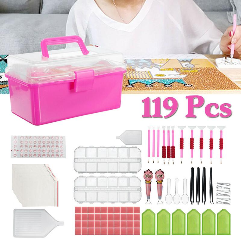 119Pcs DIY Diamond Painting Accessories 5D Diamond Painting Cross Stitch Embroidery Pen Tools Set with Plastic Storage Box