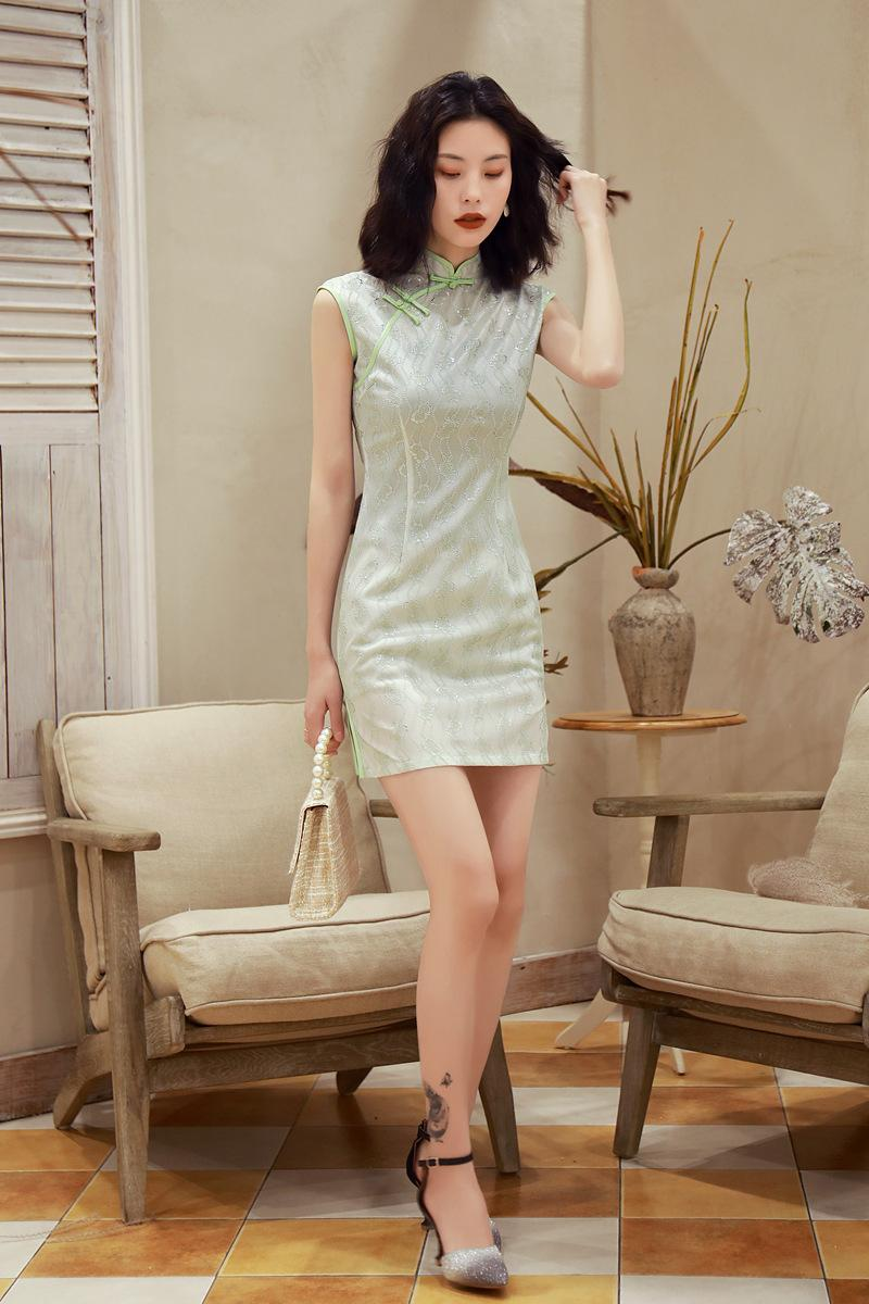 2020 summer new elegant slim, comfortable and breathable lace composite short cheongsam skirt