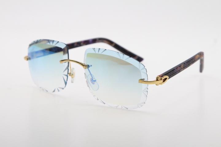 Verkauf und Brille Diamant Cut 3524012-B Gläser Planke Mode Qualität Hohe lila Sonnenbrille Metall Marmor Männlich Randlose weibliche geschnitzte BLQX