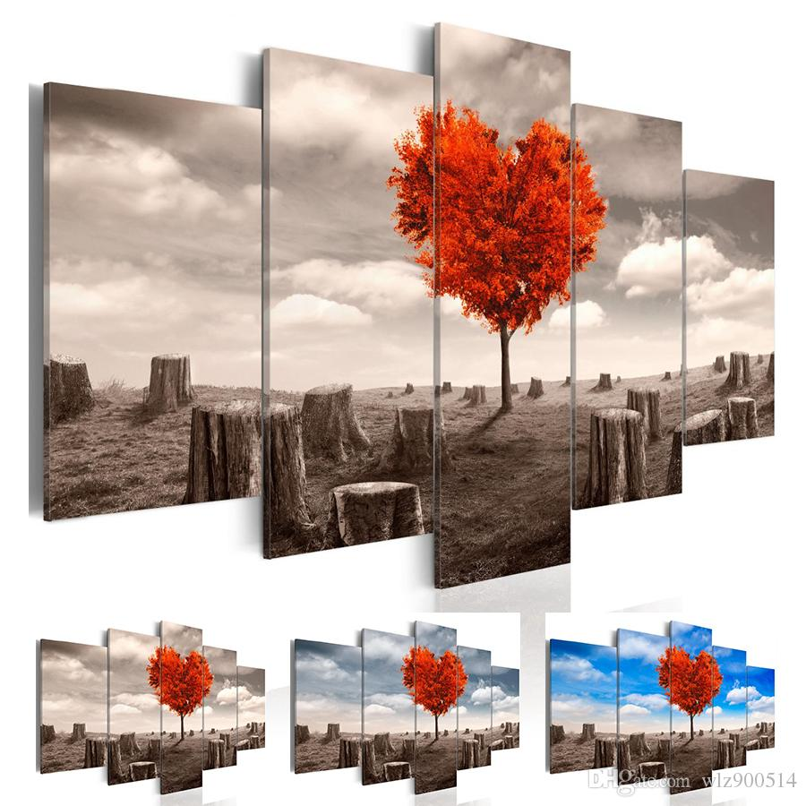 Wall Art 5 PCS/set Modern Landscape Prints Red Heart Tree Canvas Painting Wall Art Pictures for Home Living Room Decor Gifts for Love (Unfra