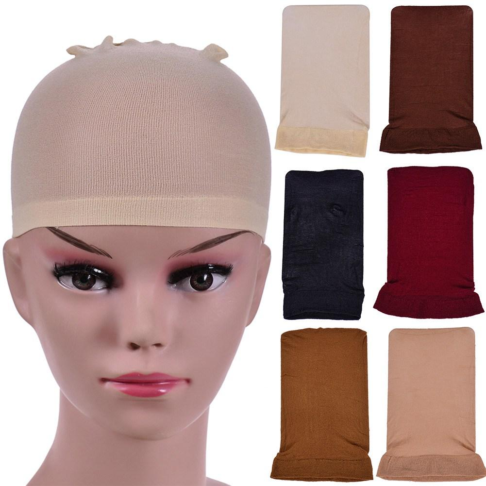 2 \ 4 PC를 가발 캡 검정 스타킹 캡 가발은 가발을 만들기위한 양말 탄성 라이너 메쉬 캡 모자