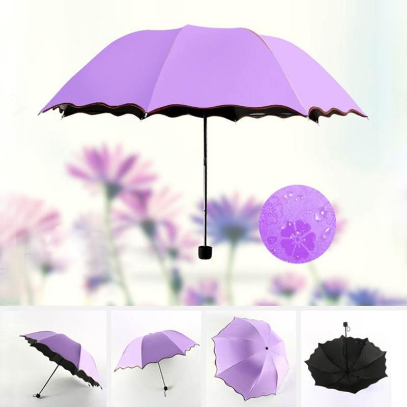Lilac 43-Inch Auto Open Travel Umbrella Windproof Waterproof UV Protection Safety Easy Carrying for Kids Child Purple