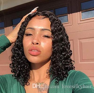 Dama caliente peinado brasileño Cabello africano Ameri corto bob rizado rizado peluca simulación cabello humano estilo bob peluca rizada en stock