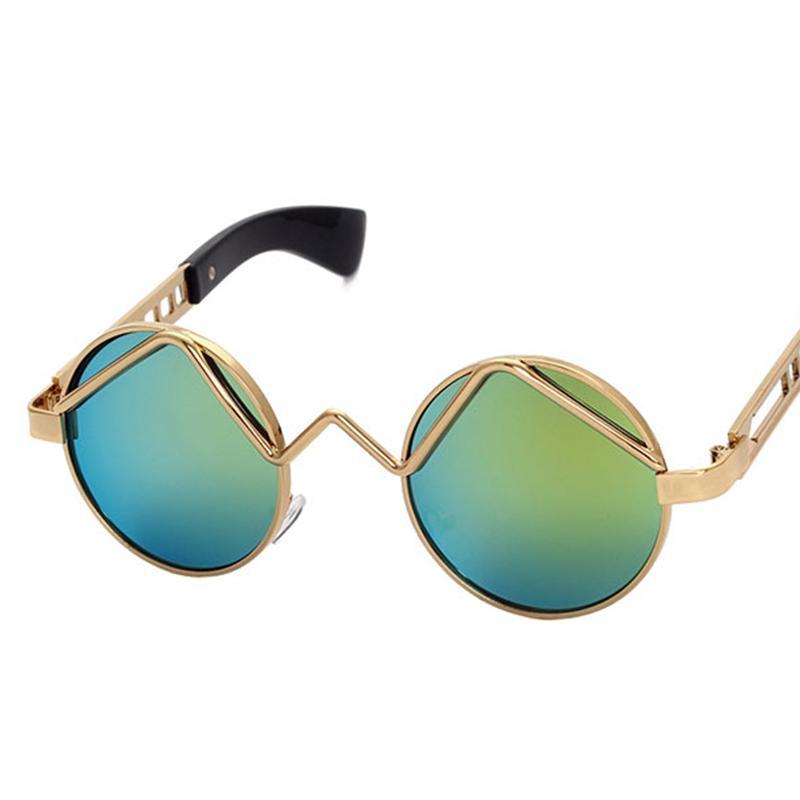 라운드 스팀 펑크 빈티지 남성 금속 UV400 남여을위한 2019 여성 선물 레드 골드 블랙 복고풍 라운드 태양 안경 선글라스
