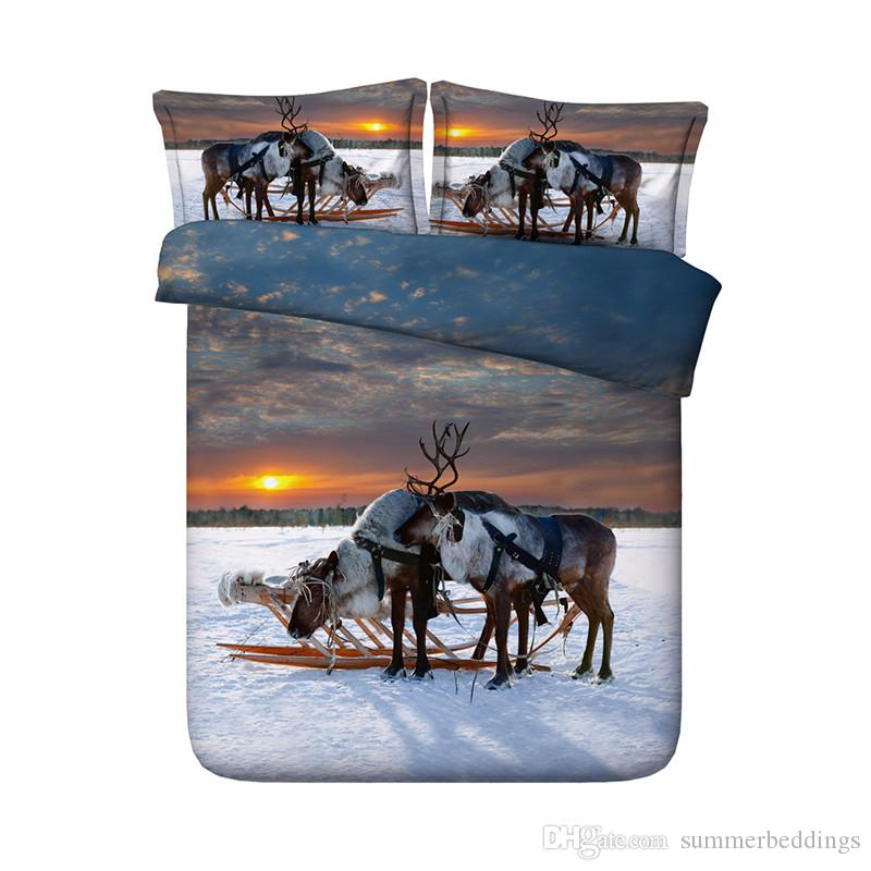 150x200CM 3D Sunset Sleigh Elk Print Duvet Cover with Pillowcase Bedding 3 PCS Set, Microfiber Comforter Cover, Zipper Closure, NO Quilt