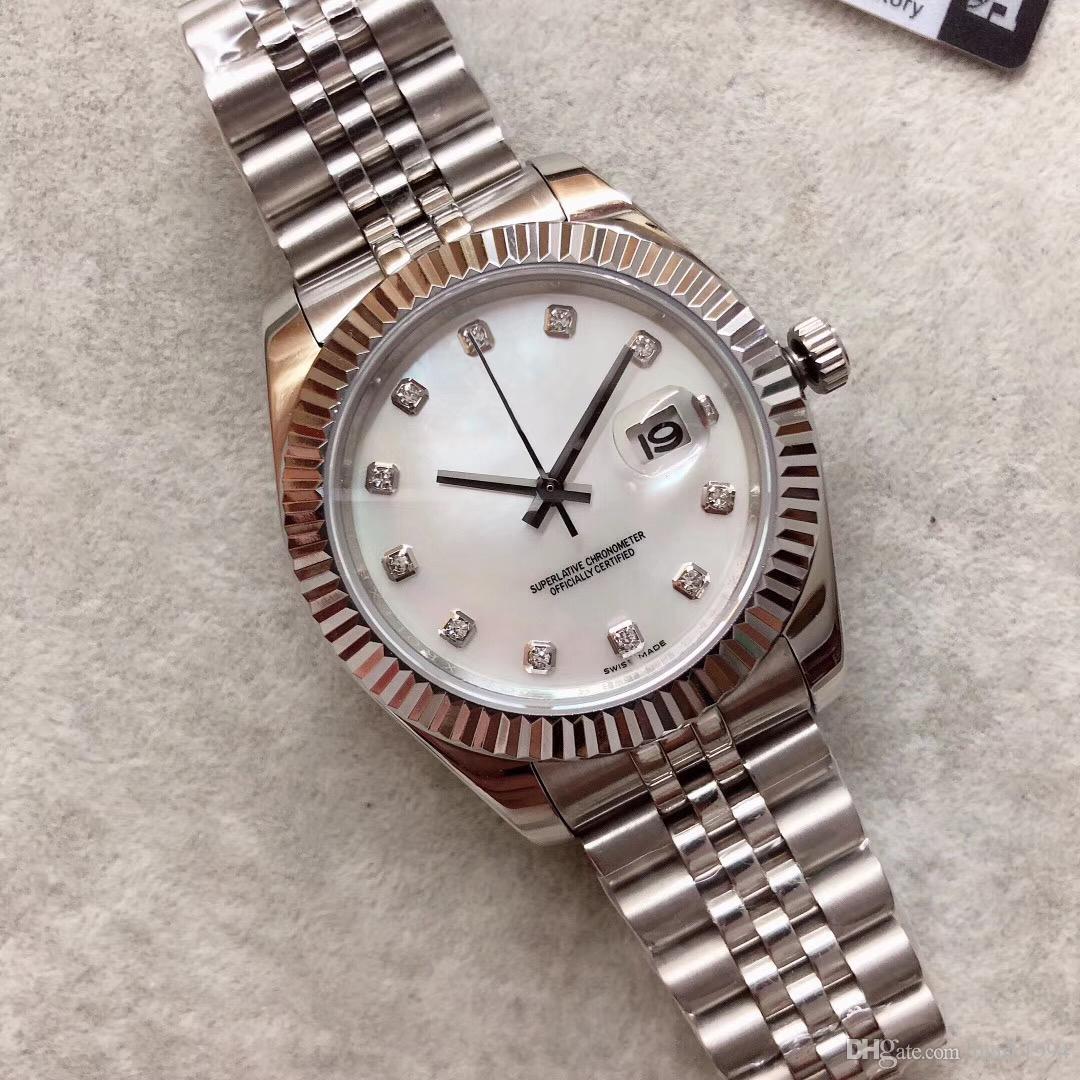 أكبر ساعة روليكس 41mm وقذيفة اللون الميكانيكية الساعات الفولاذ المقاوم للصدأ الرئيس الأزياء الأعمال التلقائي رجالي ساعات المعصم