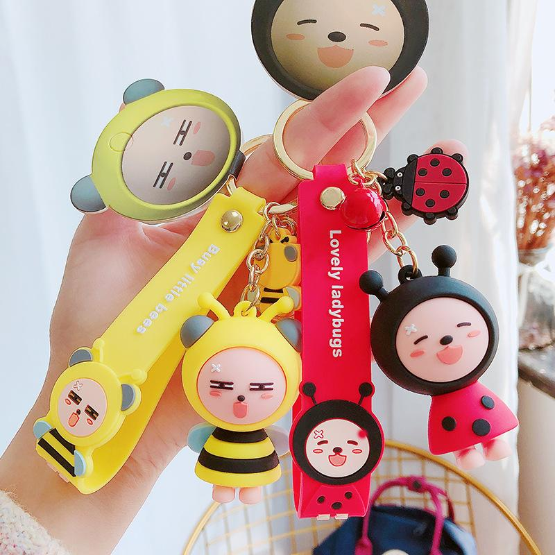 Bew Cute Cartoon Multi-Color Bee Keychains Creative Personality Insect Doll Key Chain Bag Pendant Toy Small Gift Key Ring 2020
