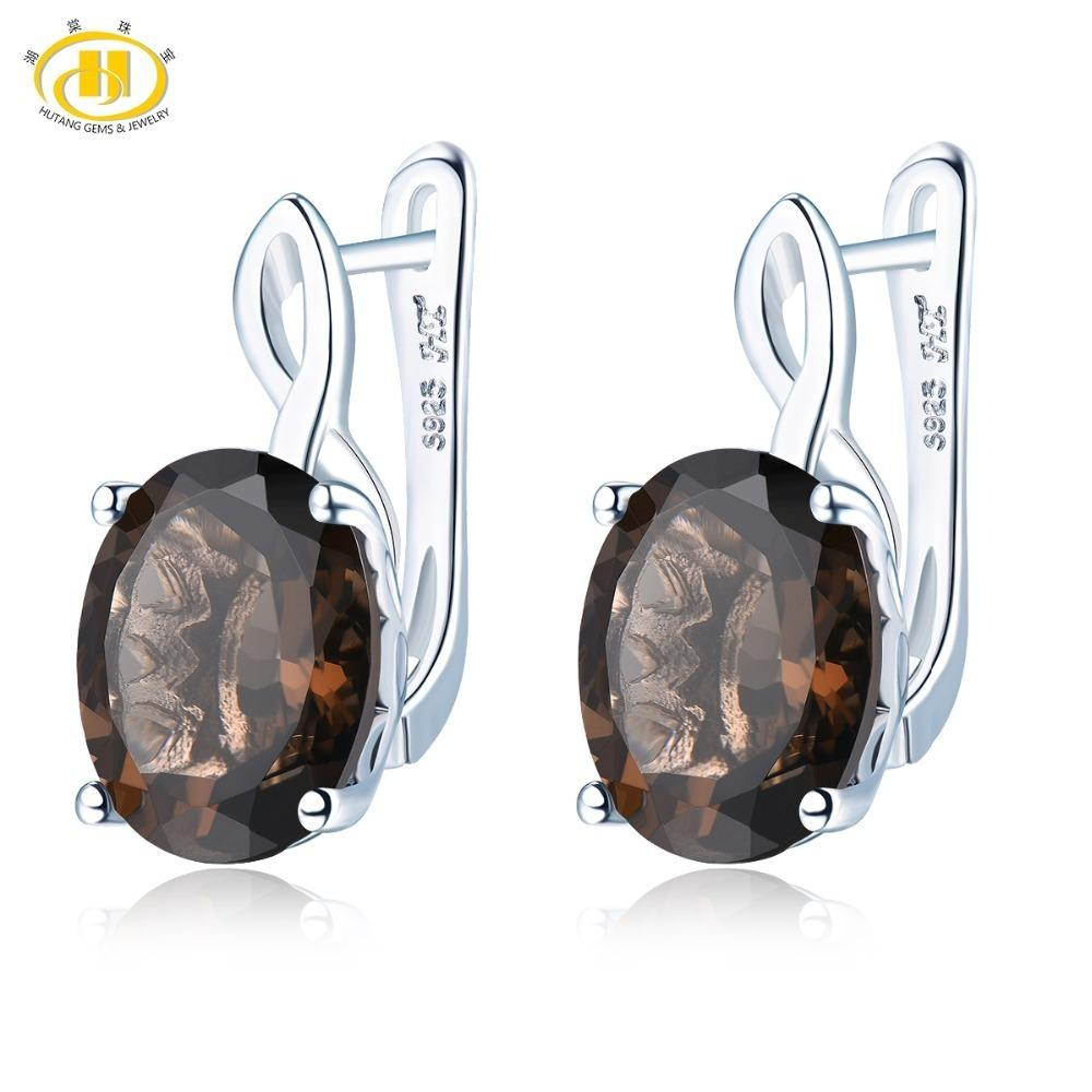 Hutang Smoky Quartz Clip Earrings Natural Gemstone Solid 925 Sterling Silver Fine Fashion Stone Jewelry For Women Gifts Gift New Y19052401