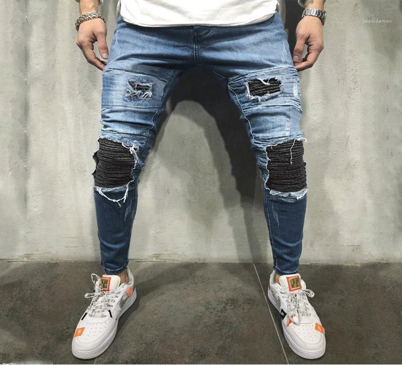 Okul Yüksek Moda düzenli Jeans Tasarımcı Diz Delikler Erkek Jeans Distrressed Kalem Pantolon Gündelik Sıska Eski