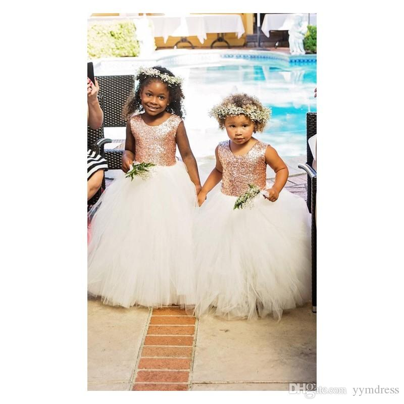 Pink Flower Girl Dresses Princess Sequined Child First Communion Dress Girl's Pageant Gowns Birthday Dress