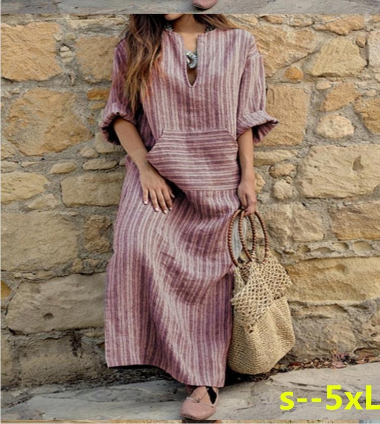 Femmes Vintage Lâche Rayé À Manches Longues Casual Baggy Caftan Boho Plus La Taille Maxi Coton Lin Robes