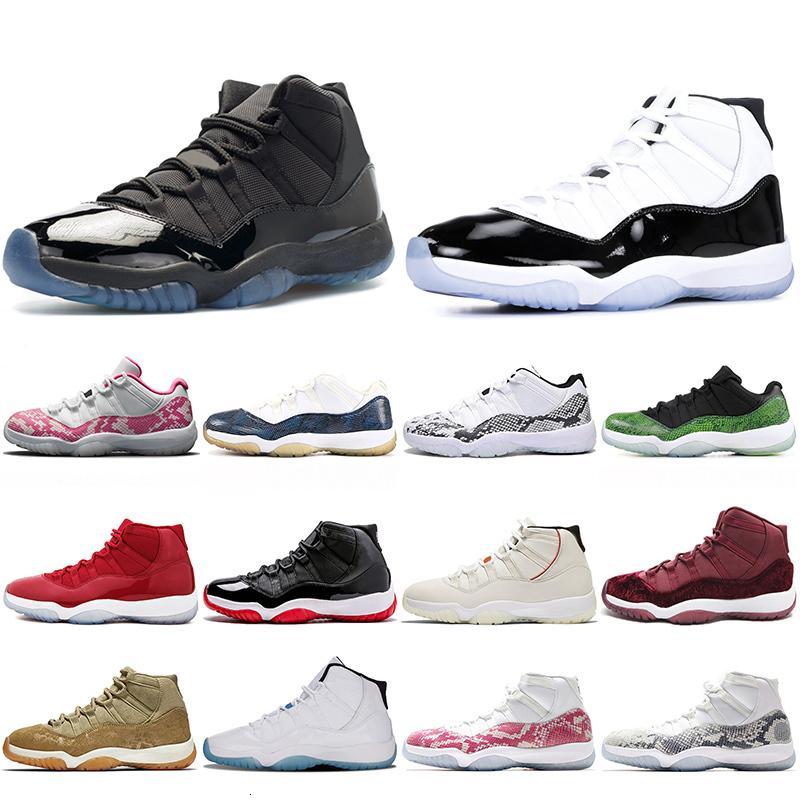 vendita calde Jumpman 11s scarpe da basket cappello e abito Concord Snakeskin 11 Platinum Tinta Gamma blu scarpe di serpente mens formatori delle donne delle scarpe da tennis