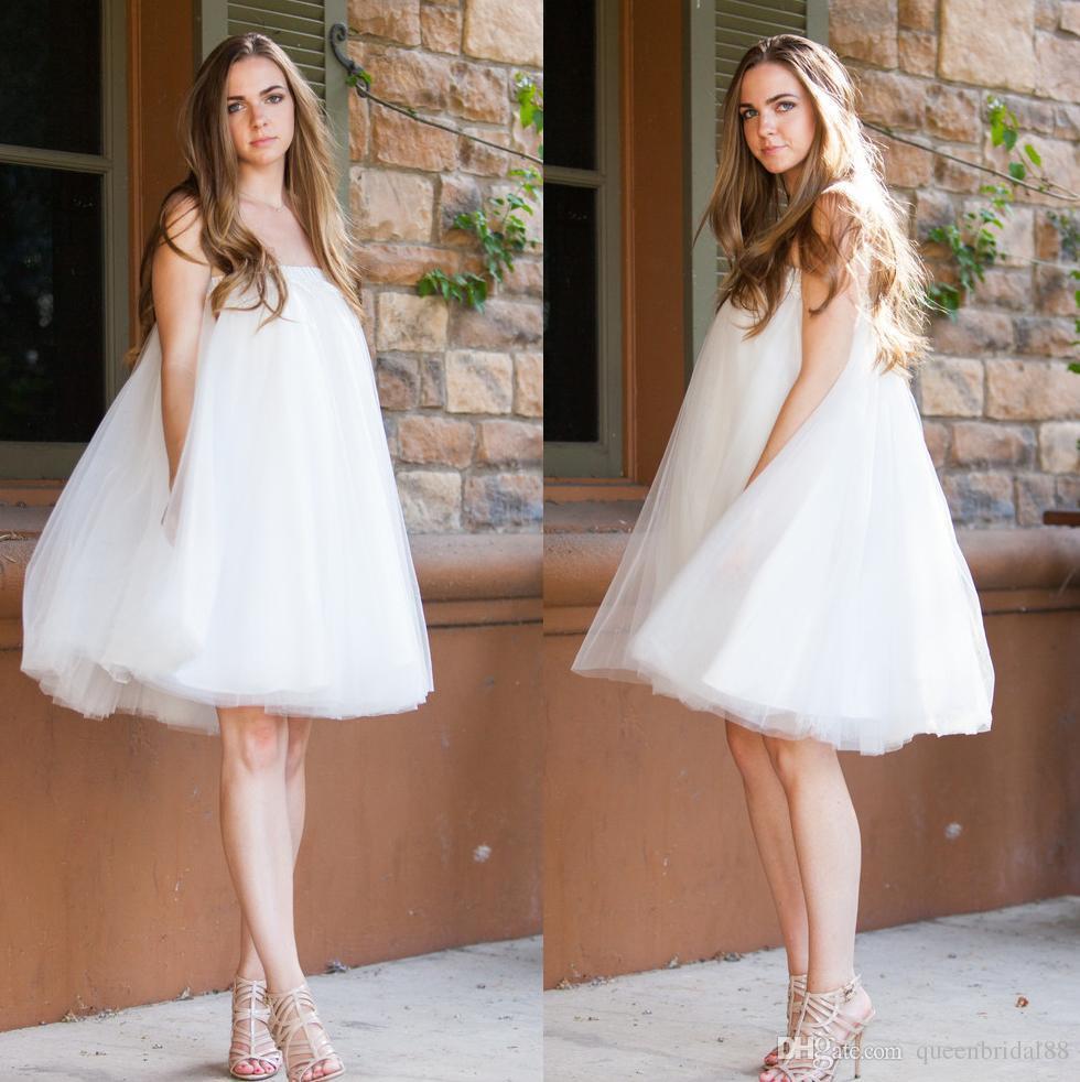 Simples Tule Uma Linha Curto Vestidos de Casamento 2019 Strapless Sexy Voltar Vestidos de Noiva China Barato Vestidos de Festa de Verão