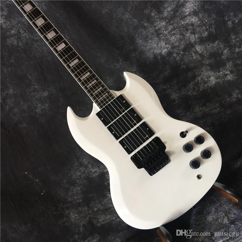 Заказ электрическая гитара Sg гитара Angus молодая модель Sg 3 пикап электрогитары с Floyd Rose тремоло. белый
