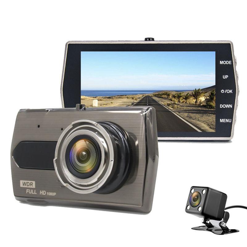 "4"" car DVR dash camera full HD video recorder vehicle driving camcorder 2Ch dual lens 1080P 170° G-sensor loop recording parking monitor"