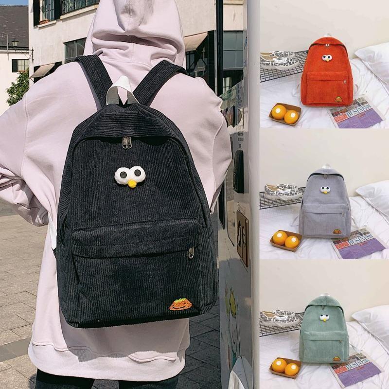 Women's Corduroy Backpack Cute Shoulder Bag School Student Bag Simple Travel