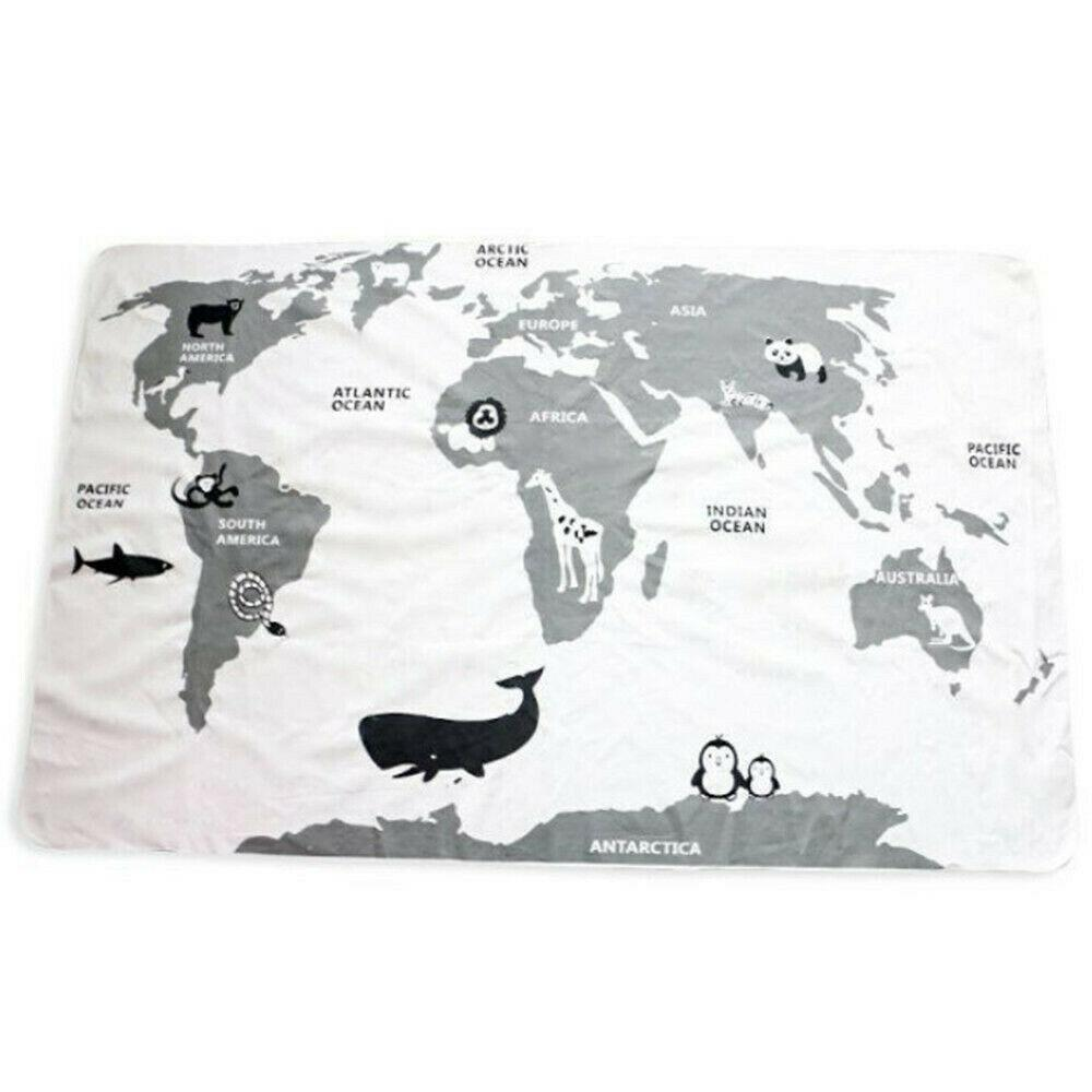 Bambino che striscia Mats Blanket Piano gioco del gioco del Rug Carpet World Map Room Decor nuovo
