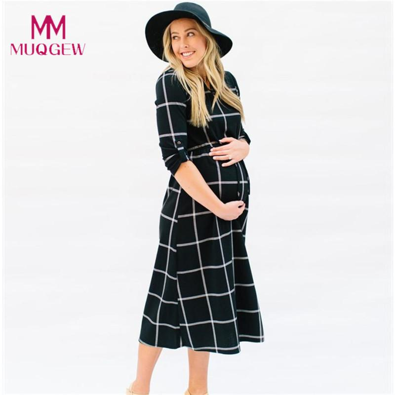 2021 New Fashion Maternity T Shirt Dress Pregnant Maternity Clothes Casual Nursing Boho Chic Tie Long Sleeves Plaid Pregnancy Clothes Y190522 From Gou07 12 04 Dhgate Com