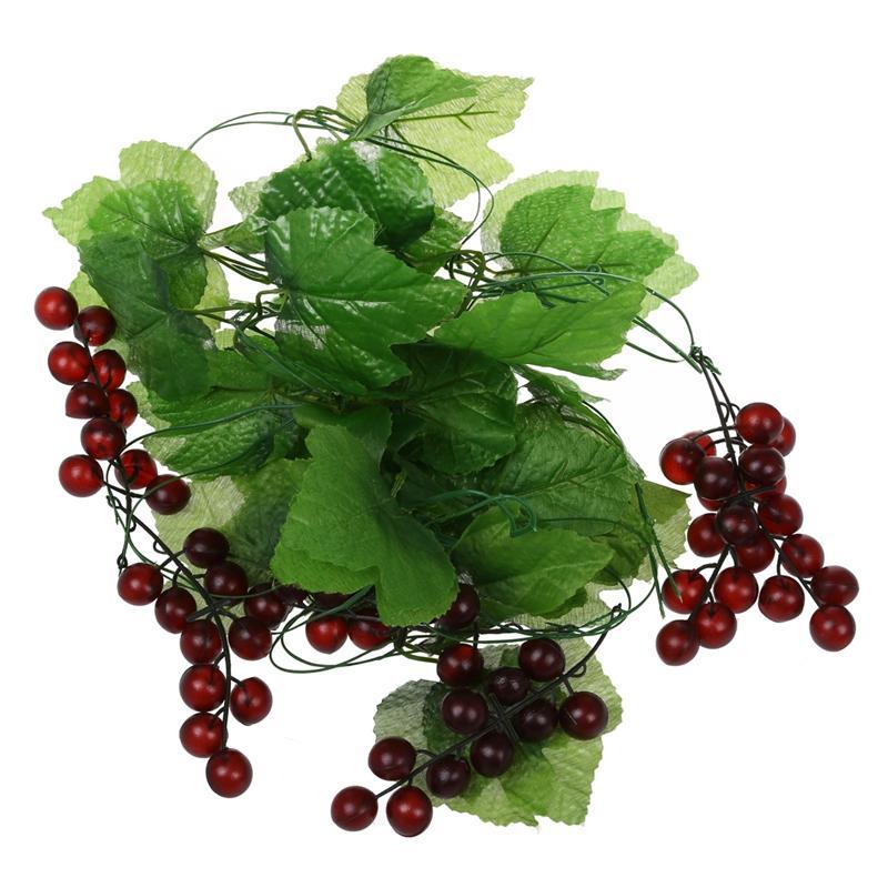 CSS 2x Artificial Grape Vine Garland Fruit for Home Garden Decoration