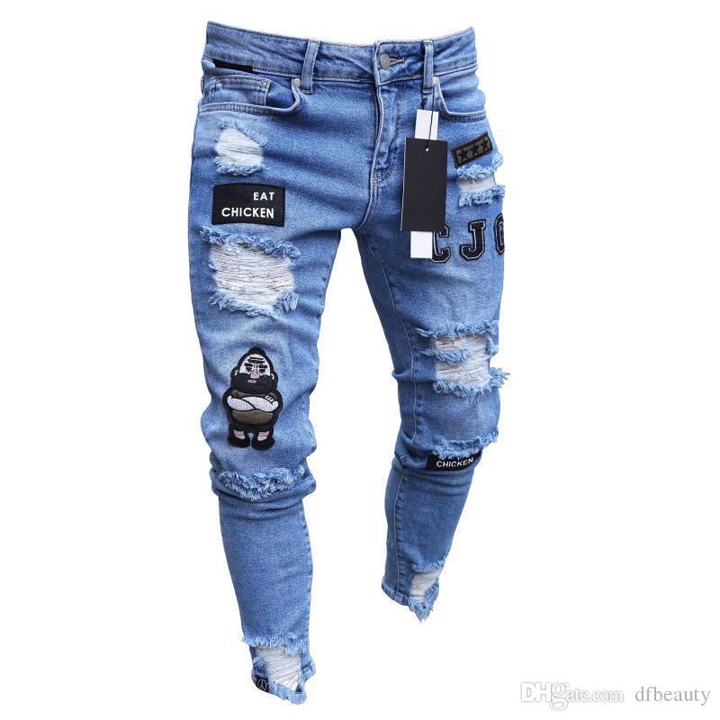 Moda Masculina Designer de Calça Jeans Estiramento Hip Hop Streetwear Legal Remendo do Motociclista Buraco Rasgado Skinny Jeans Slim Fit Calças Lápis