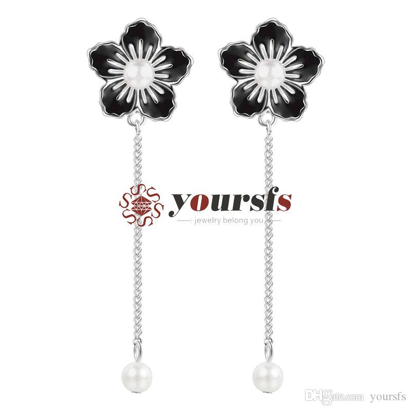Yoursfs New Fashion Romantic Flowers Ear Clip Japan And South Korea Sweet Long Section Pearl Earrings Jewelry