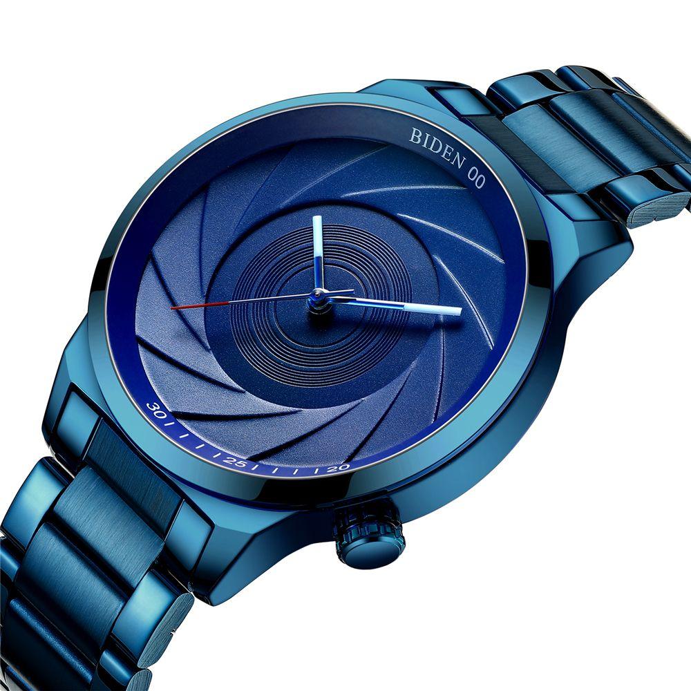 Biden Brand Luxury Fashion Casual Quartz Watch Photographer Series Unique Camera Waterproof Stainless Steel Men's Watches Blue Y19062004
