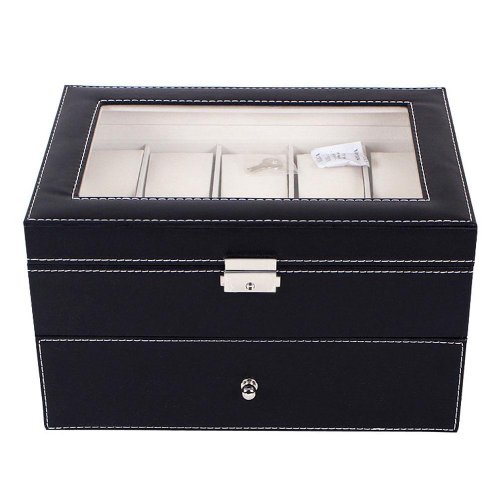 20 Grids PU Leather Watch Box Caixa Professional Titular Organizador para Clock Relógios Jóias Caixas de armazenamento Caixa de exibição