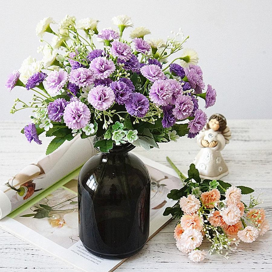 artificial lilac flowers white autumn small silk 15 heads fake flowers bouquet home decor Christmas party wedding decoration