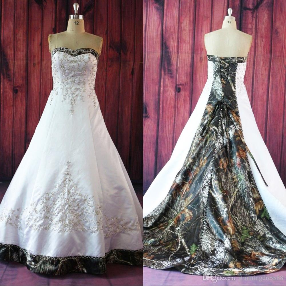 Classic Embroidery Camo Wedding Dresses A line Sweetheart Satin Corset Back Sequin Beaded Wedding Bridal Gowns Cheap New Real Photos