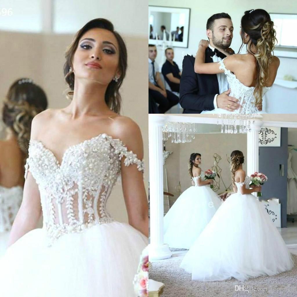 Lindas Pérolas Plus Size Vestidos De Casamento 2019 Fora Do Ombro Applique Said Mhamad Mariage Árabe Vestido de Baile De Noiva Para A Noiva robe de mariée