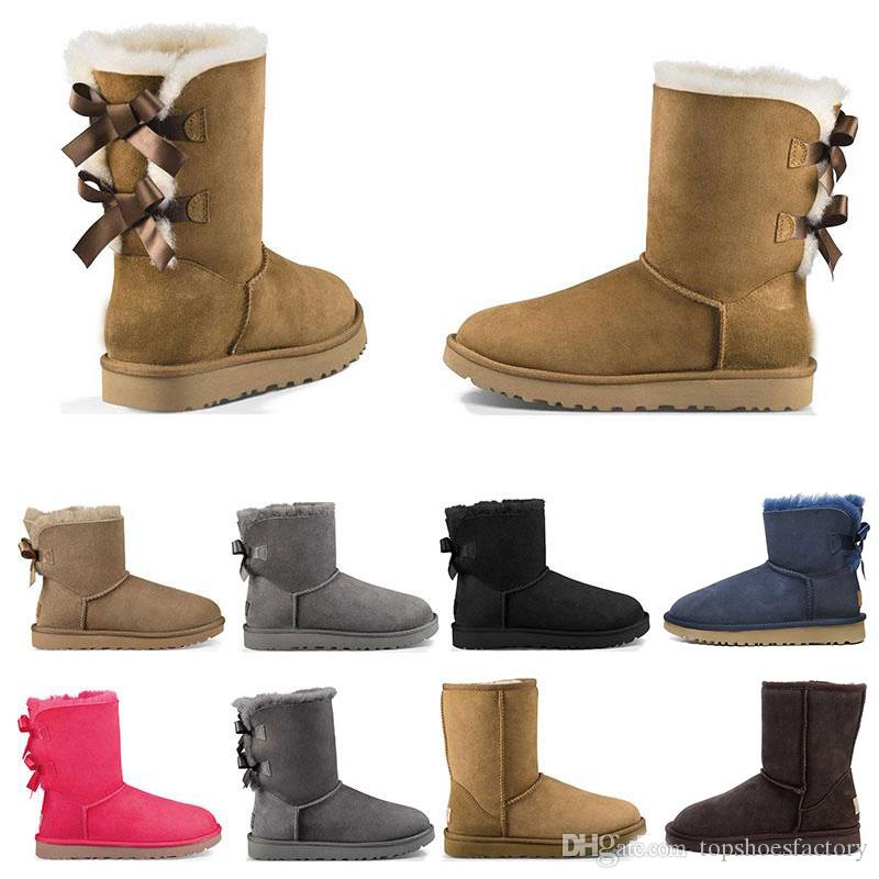 UGG Australia Snow Boots снегоступы мода Австралия классический короткий лук сапоги лодыжки колено лук девушка мини Бейли загрузки 2020 размер 36-41 бесплатно корабль