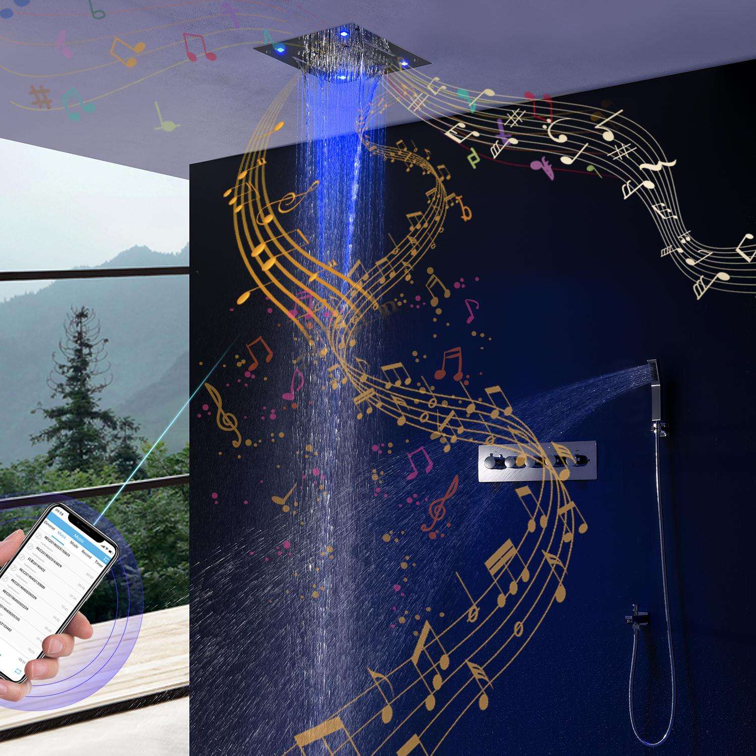 Bathroom Bluetooth Music Shower Set Ceiling Colorful LED Shower Panels Rainfall Waterfall Shower Head Thermostatic Mixer Diverter Faucets