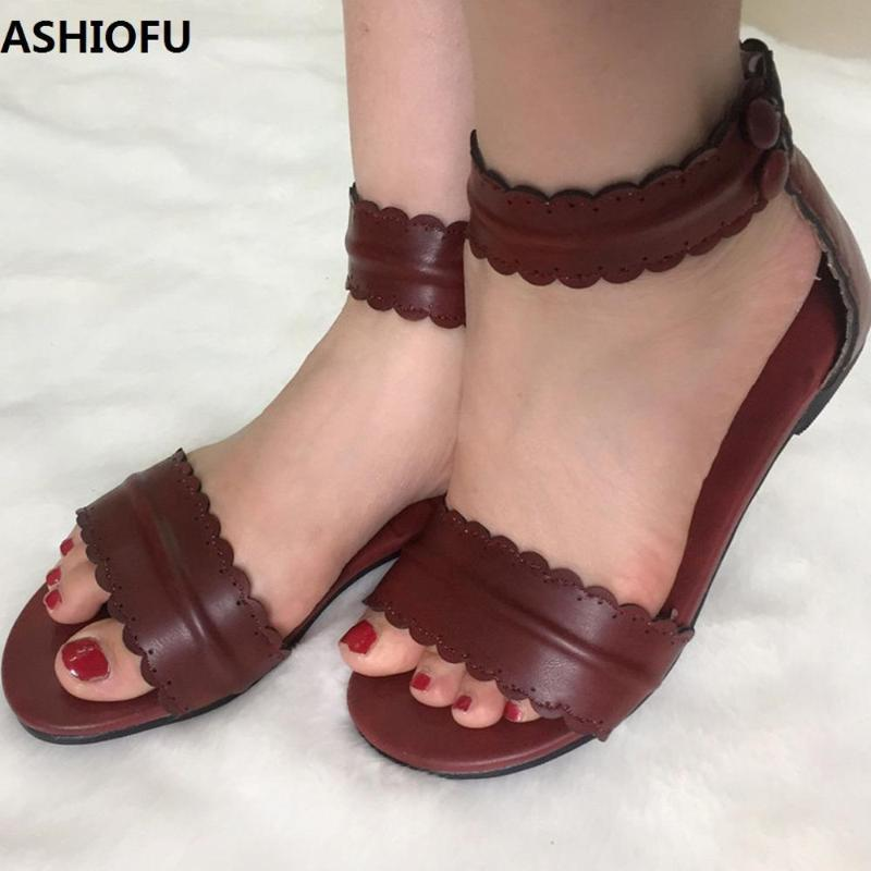 ASHIOFU Handmade Womens Sandals Party Prom Summer School Flat Sandals Large Size Fashion Daily Wear Casual Shoes