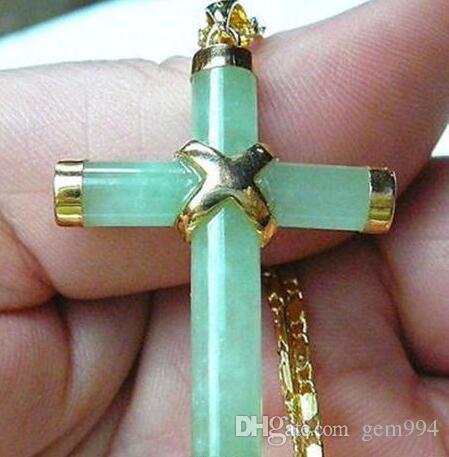 Удачи ювелирные изделия 18K GP светло-зеленый нефрит крест кулон ожерелье Бесплатная доставка