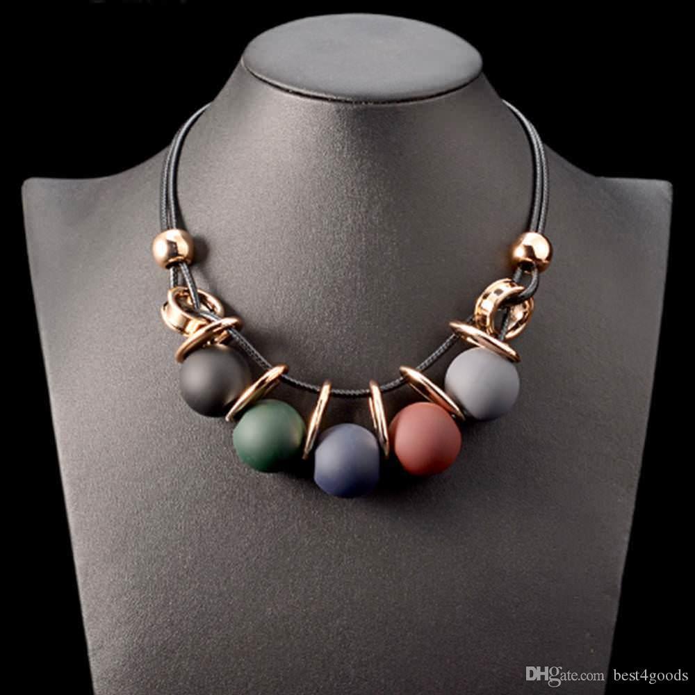 Черная кожа цепи пластиковые Gem себе Choker ожерелье партии подарка ювелирных изделий Collier Maxi ожерелье Vintage
