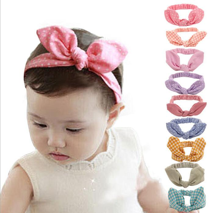 Cute Baby rabbit ear Headbands Kids Infant Linen Bow Dot Striped hair headdress Children Hair Accessories Christmas Party Gift