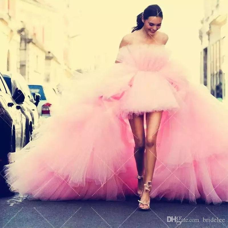 2019 новый стиль хиппи стиль шикарный розовый тюль высокий низкий Пром платье без бретелек пухлые многоуровневое поезд мода платья Пром платья халат де вечер