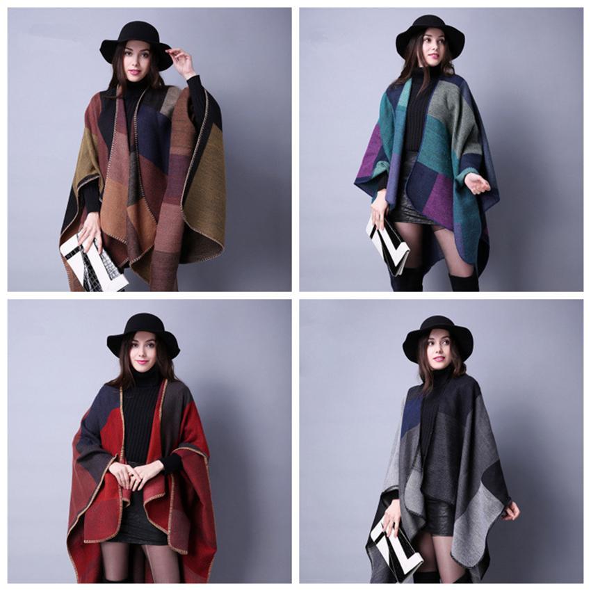 Nuevo Invierno Otoño e invierno Chal Bufanda Cachemira Dama All-match Plaid Travel Europa Folk Style Split Thick Cloak ZZA960