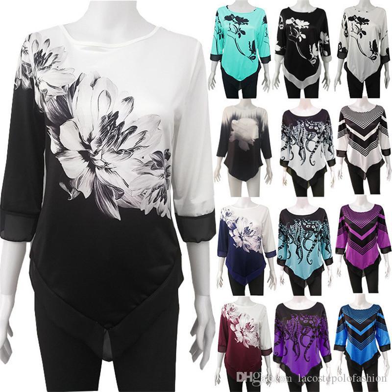 Designer floral Womens camisas casuais do pescoço de grupo solto senhoras camisetas Moda assimétrico Hem Tops fêmeas Luxo