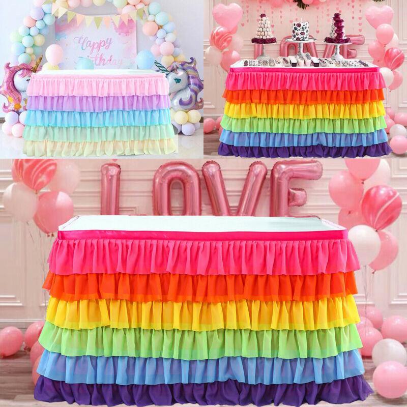 5/6 strati multicolore Tabella telo di copertura Rettangolo Tabella Gonna tavola di compleanno di nozze Albergo Parte festa Decor