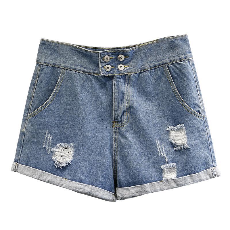 Frauen-Sommer-Jeans Dame Shorts Hose mit weitem Bein Weibliche Blue Denim-Hose Holes lose Art und Weise plus Größe Pantalones G3 5828
