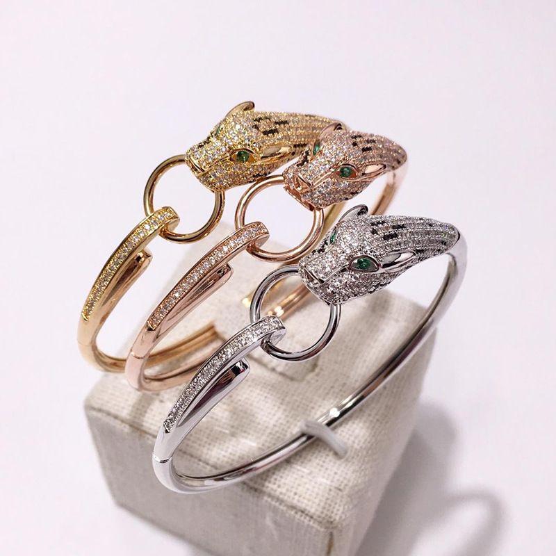 Браслет мода леопардовый животное асфальтированная циркона каменная пантера круг дизайн браслет для женщин свадьба украшения