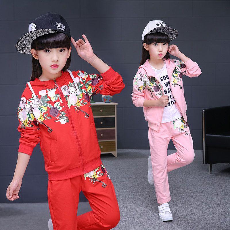 New Girls Clothing Sets 2019 Spring Autumn Children Clothes Set Print Jacket+Pants 2 PCS Girls Sports Suit 4 6 8 10 12 13 Years