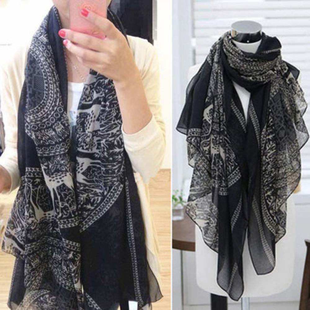 Women's Fashion 165*85 cm Vintage Lady Long Soft Cotton Voile Print Scarves Shawl Wrap Scarf Black Stole