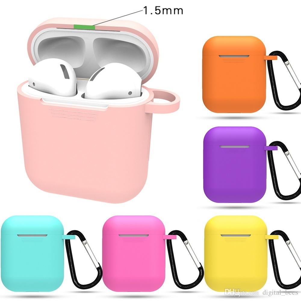 Coloful Air Pods Case Silicon Pouch For Apple Earphone Airpods Pro Set Protector Cover Skin Wireless aribuds Package With Metal Buckle