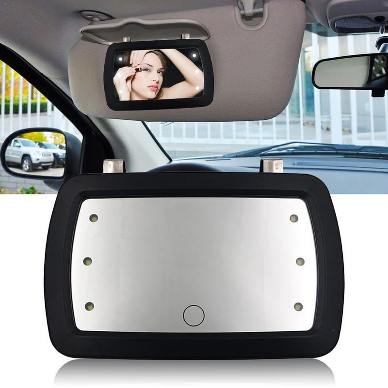 Universal Araç LED Parmak Dokunmatik Anahtarı Makyaj Ayna Sunvisor Yüksek Temizle İç Ayna Clear View Güneşlik Oto Aksesuarları