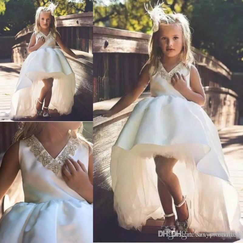White High Low Girls Pageant Gowns Beaded V Neck Sleeveless Ball Gown Wedding Flower Girl Dresses Satin Tulle Baby Birthday Party Dress